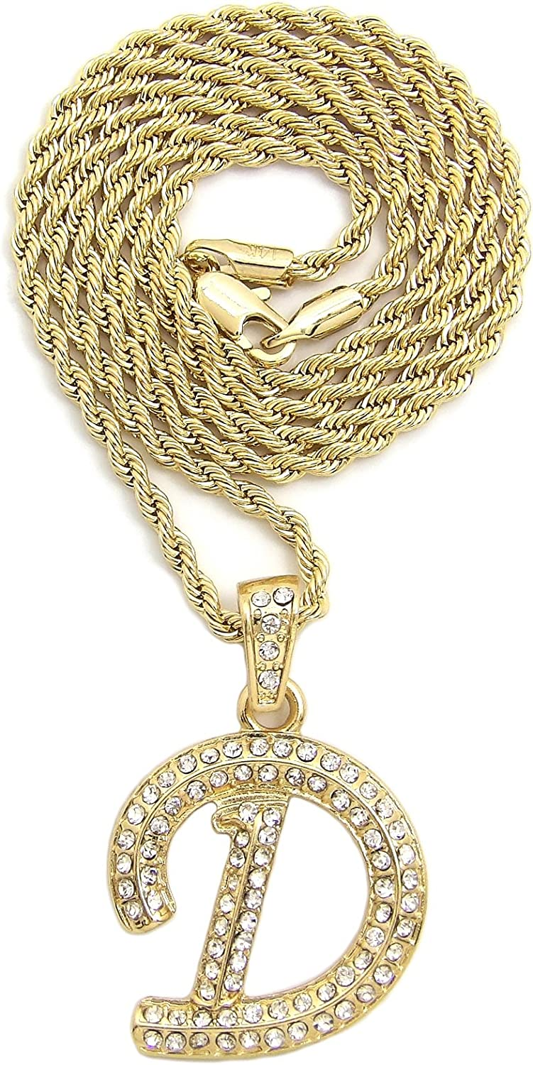 NYFASHION101 Stone Stud Cursive Letter Initial Pendant with 2mm Rope Chain Necklace in Gold-Tone