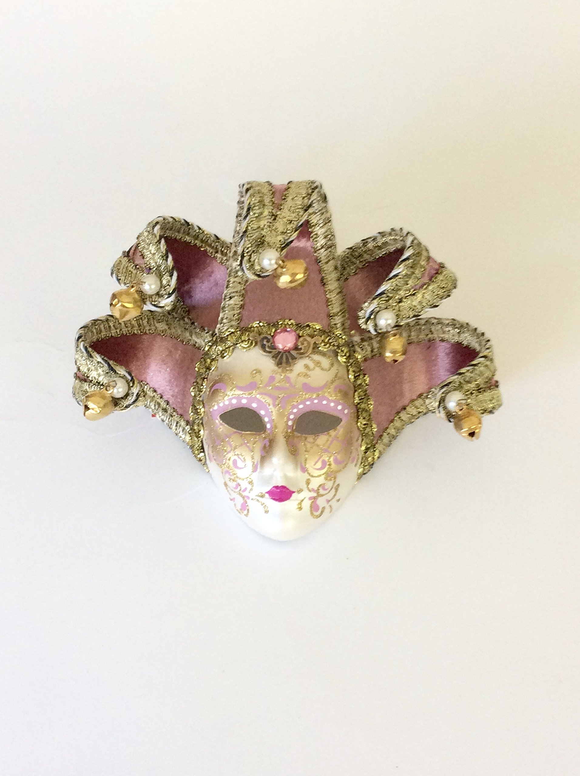 Pink Brocade Jollini Miniature Ceramic Venetian Mask