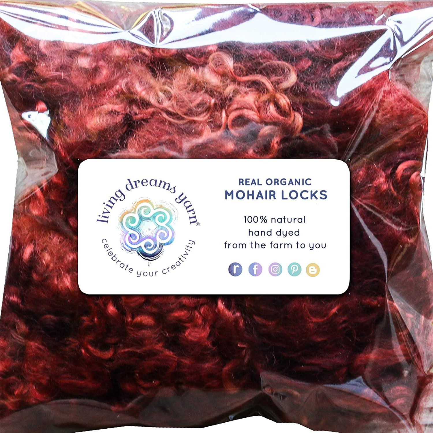 Real Mohair Wool Locks, Organic Hand Dyed Fiber for Felting, Blending, Spinning, Knitting, Doll Hair and Embellishments. 1 Ounce Henna Living Dreams Yarn