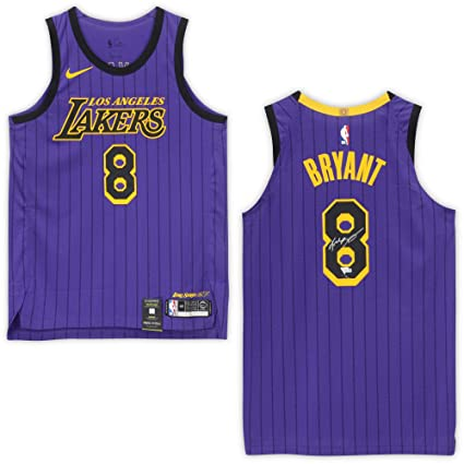 low priced 2ba47 3a694 Kobe Bryant Los Angeles Lakers Autographed #8 City Edition ...