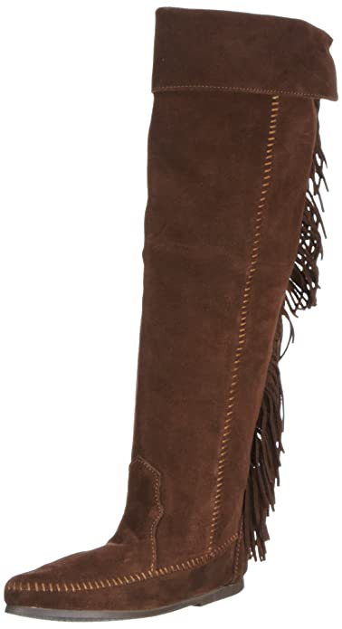 Amazon.com | Minnetonka Women's Over-The-Knee Fringe Boot ...