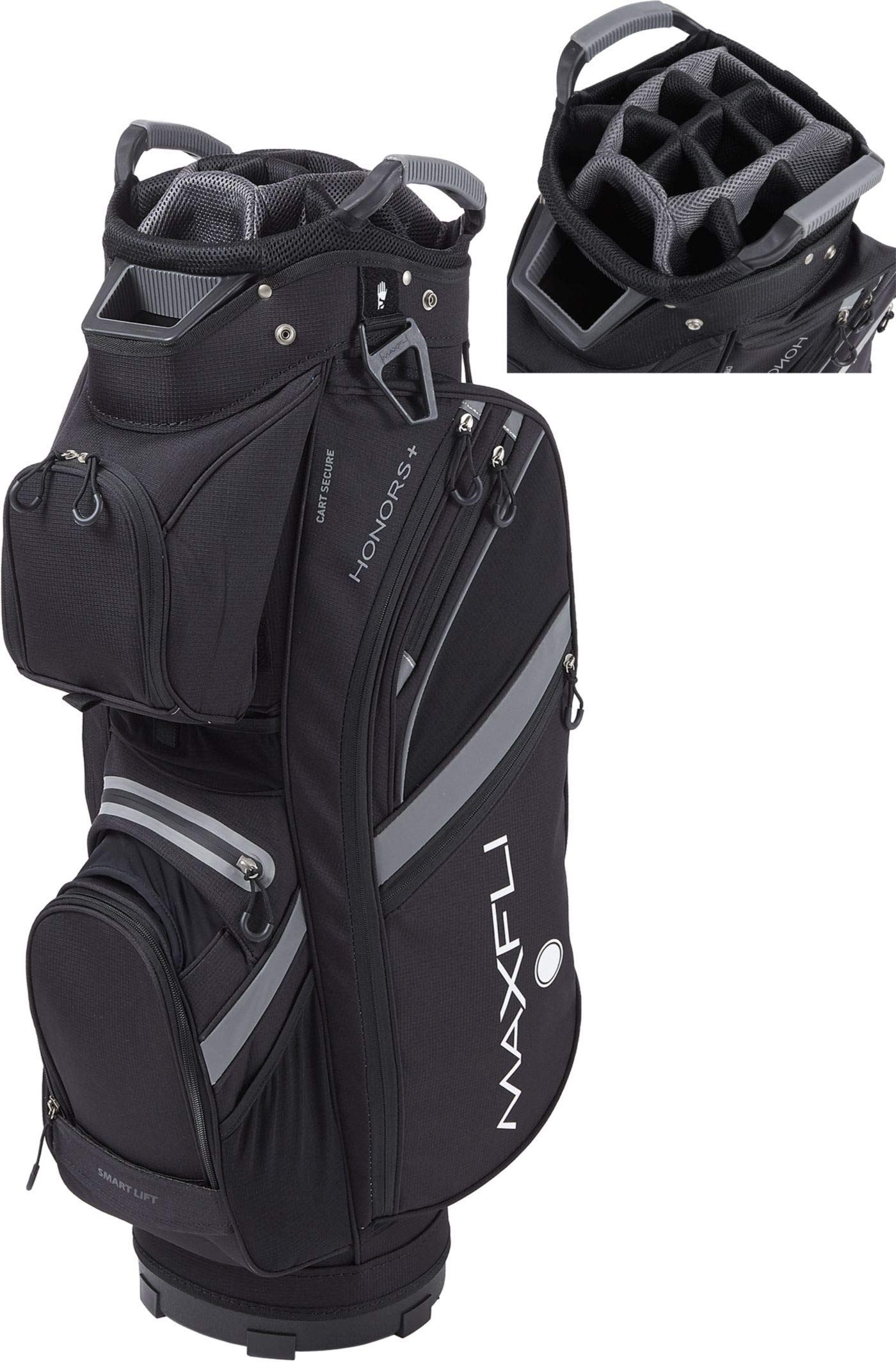 Maxfli 2019 Honors Plus Golf Cart Bag Lightweight 14-Way Top 3 Dividers w/Insulated Pocket (Black)