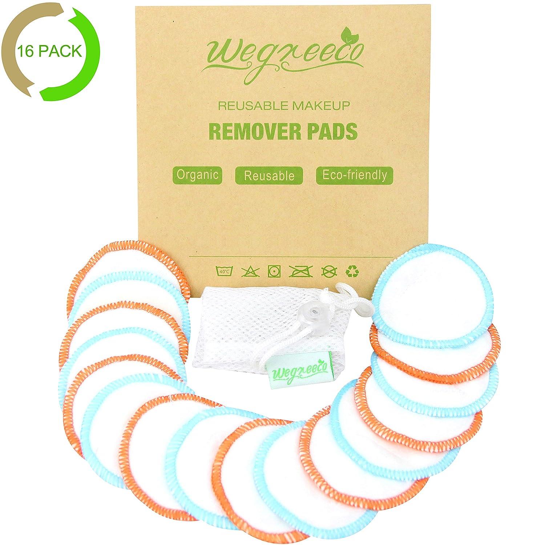 Cotton Rounds Reusable 16 Packs - Reusable Bamboo Makeup Remover Pads for face - Reusable Facial Pads Reusable Facial Cotton Rounds with Laundry Bag (Bamboo Velour, Graceful)