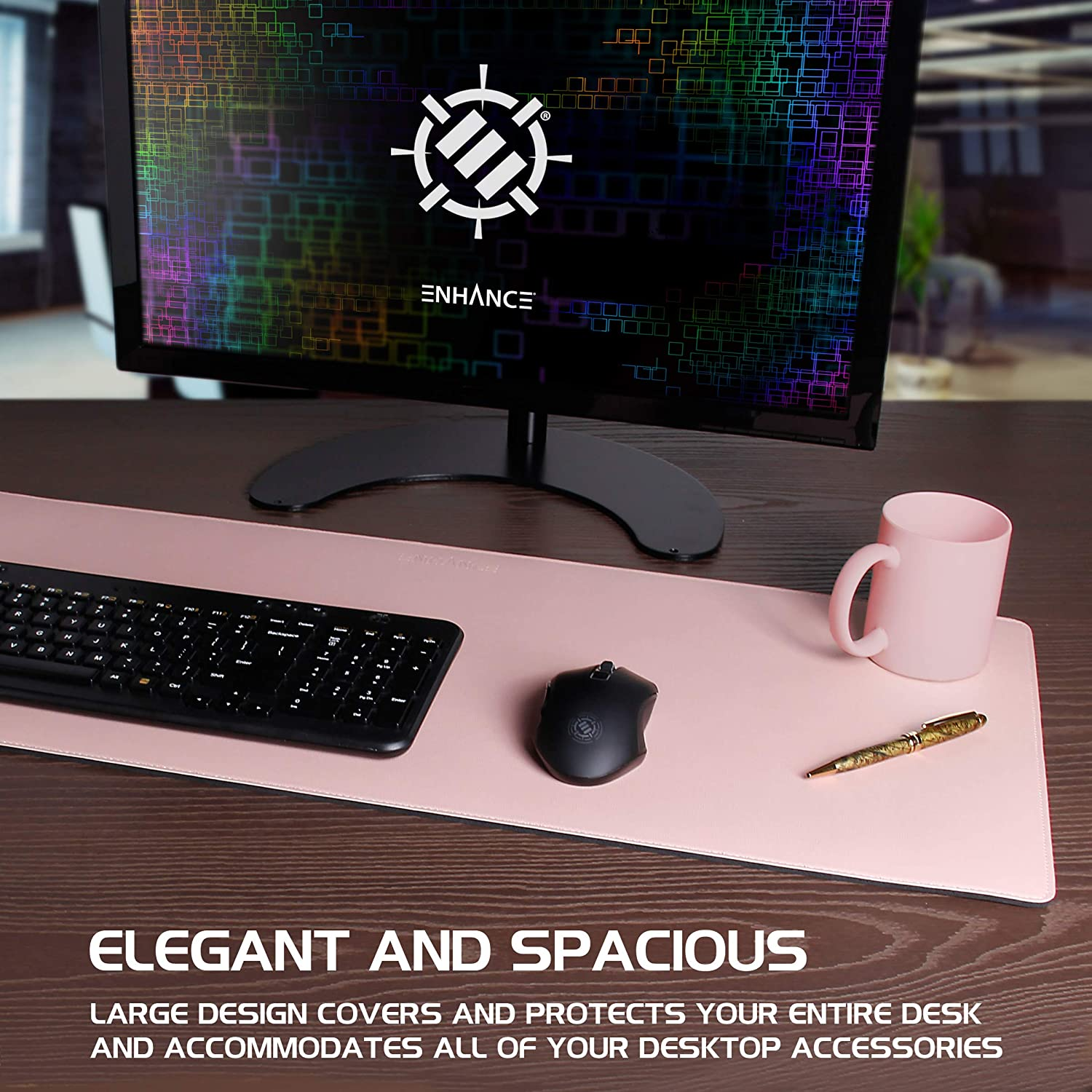 Great Decor and Work from Home Office Accessories Faux Leather Desk Mat Protector Extra Large Non-Slip Grip and Stitched Edges Black Water and Stain Resistant ENHANCE PU Leather Mouse Pad