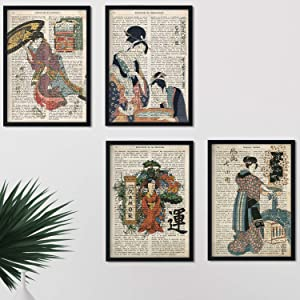 Nacnic Prints Vintage Japanese Definitions, Communication, Emotions, Freedom - Set of 4 - Unframed 8x11 inch Size - 250g Paper - Beautiful Poster Painting for Home Office Living Room