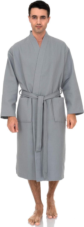 TowelSelections Mens Waffle Bathrobe Turkish Cotton Kimono Robe
