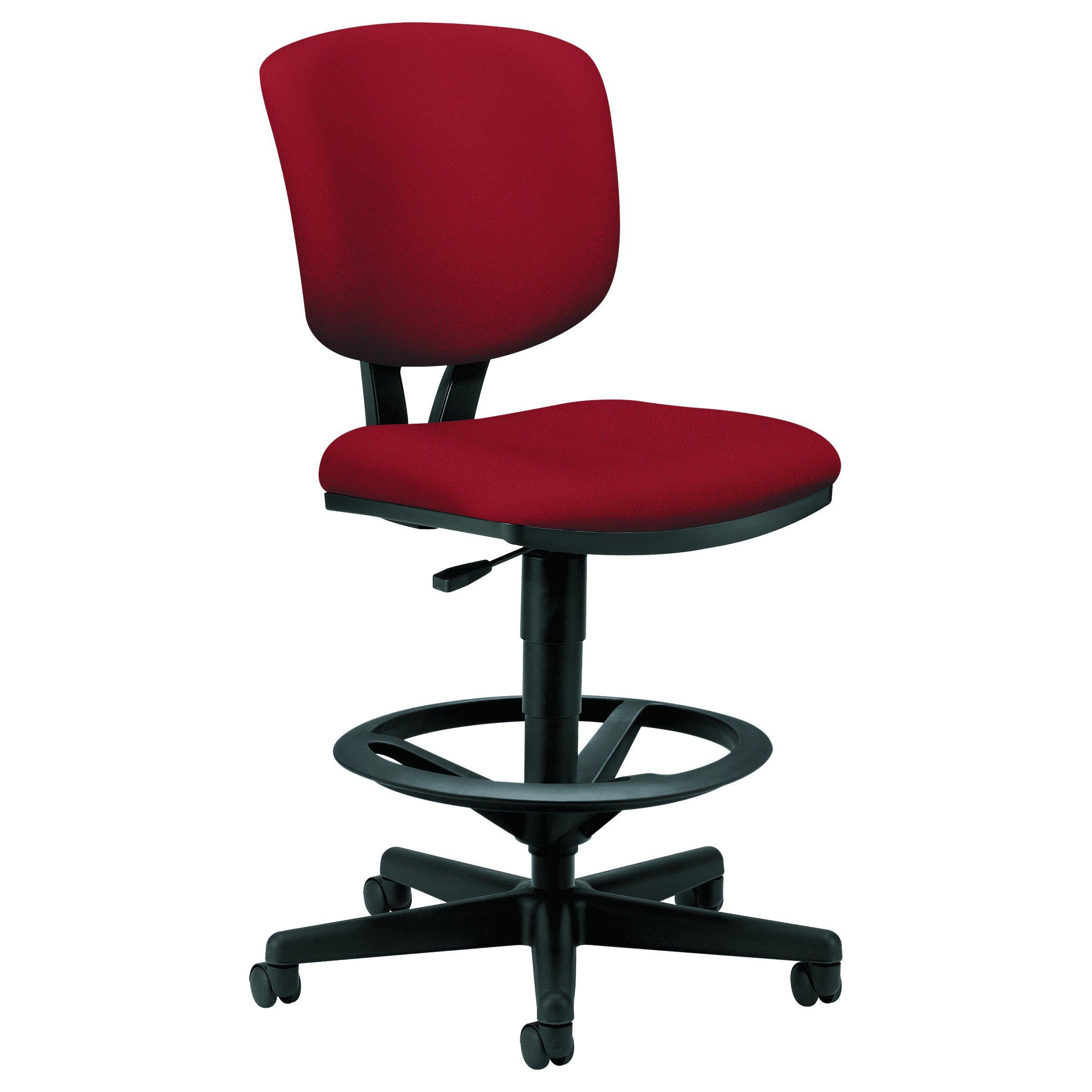 HON Volt Task Stool - Upholstered Adjustable Office Stool, Crimson (H5705) by HON