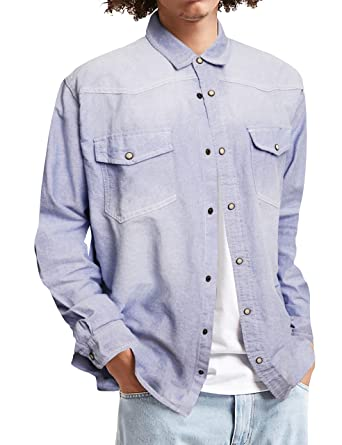 1c7a299906 Mens Long Sleeve Denim Shirt Slim Fit Casual Vintage Chambray Long Sleeve  Button Down Shirt with Pocket at Amazon Men s Clothing store