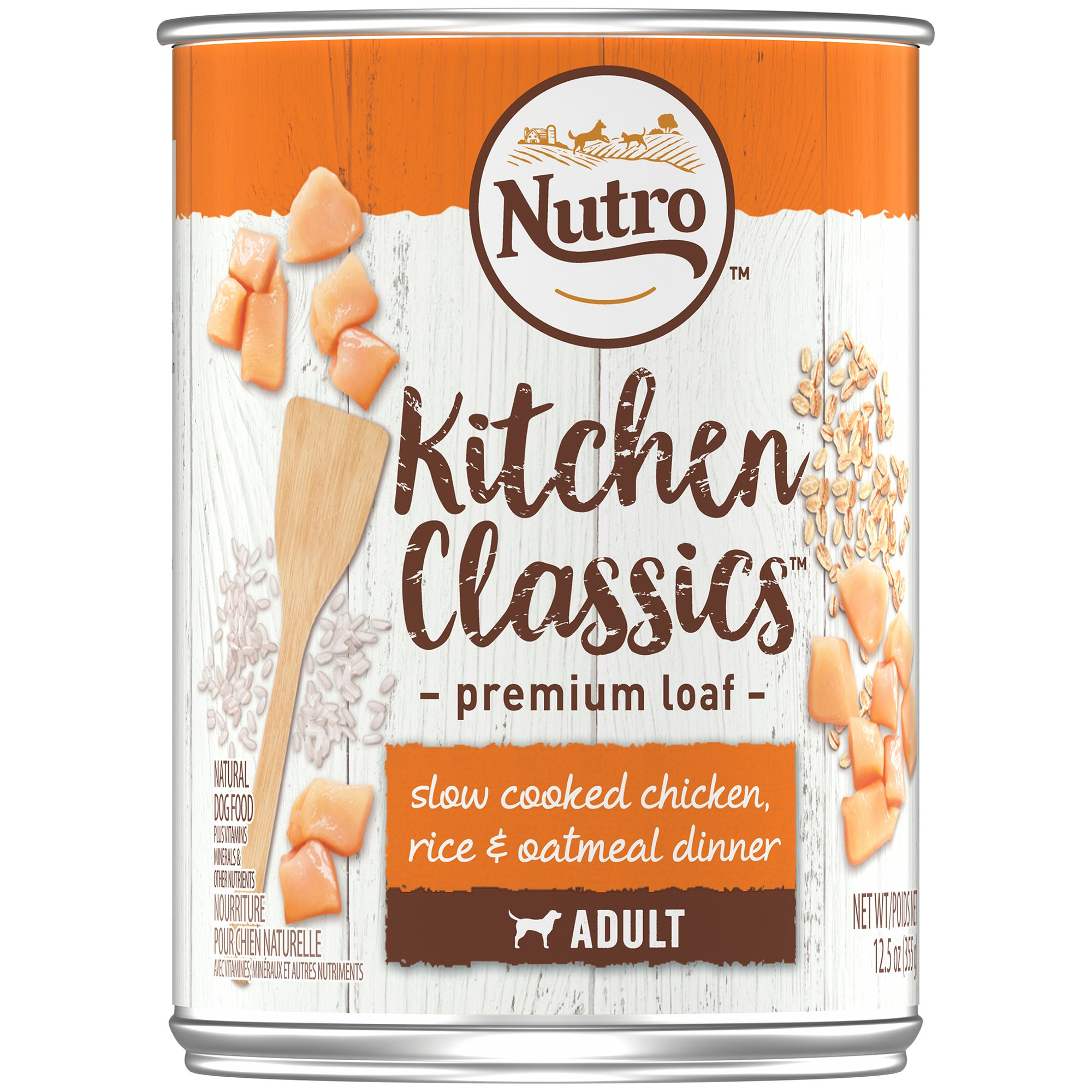 Nutro KITCHEN CLASSICS Adult Canned Wet Dog Food Premium Loaf Slow Cooked Chicken, Rice & Oatmeal Dinner, (12) 12.5 oz. Cans