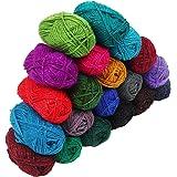 Kurtzy Laine à tricoter 20 Pcs - Laine a Crochet 20 g - 75 Mètres fil Crochet de couleur assortie - Crochet de fil Pour Crochet fils pour projets de tricotage et Applique