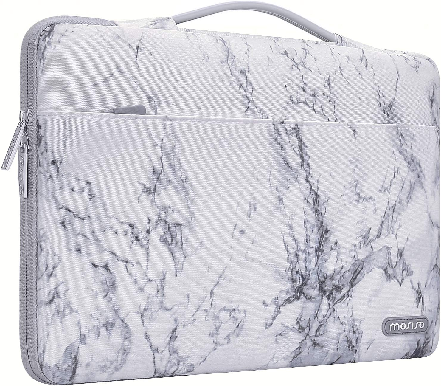 MOSISO Laptop Sleeve 360 Protective Case Bag Compatible with 13-13.3 inch MacBook Pro, MacBook Air, Notebook, Polyester Pattern Shockproof Handbag with Trolley Belt, White Marble