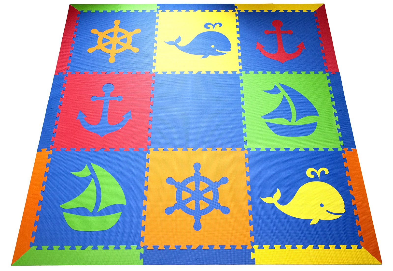 SoftTiles Kids & Baby Foam Playmat- Nautical Ocean Theme- Interlocking Blue, Red, Orange, Yellow, Lime Floor Tiles for Children's Playrooms and Baby Nursery (6.5'x6.5') SCNAUBROYL