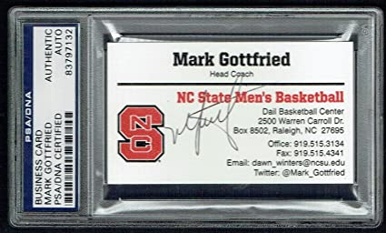 Mark Gottfried Signed Autograph Business Card Nc State Basketball