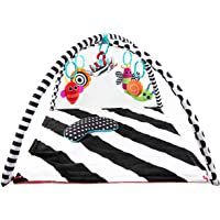 Sassy Black & White Tummy Time Playmat for Tummy or Back Play with Detachable Toys and Bolster, Ages 0+ Months