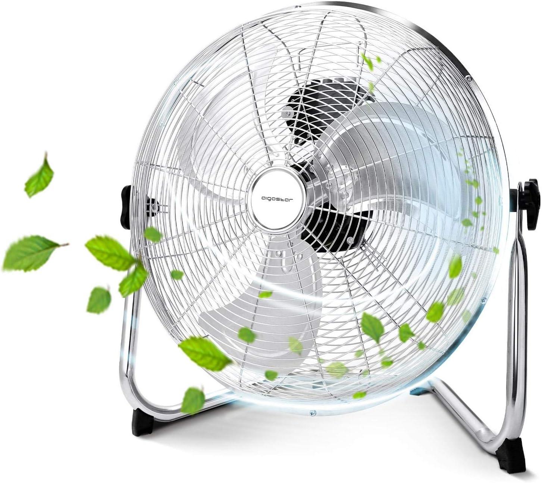 Aigostar Eddie - Ventilador industrial, 3 velocidades, ajustable 360º, 3 aspas metálicas, 14