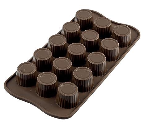 SCG07 Molde de silicona con 15 cavidades con forma de praline, color marrón
