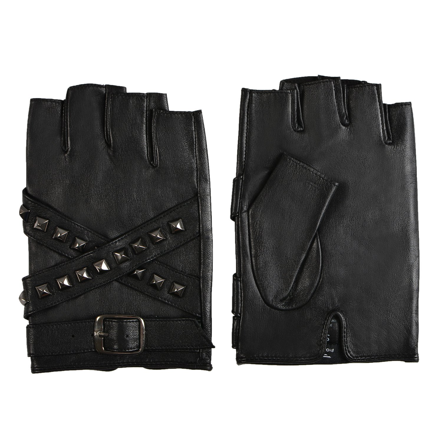 Fioretto 10% OFF Mens Womens Driving Leather Gloves Harley Fingerless Gloves Outdoor Italian Genuine Goatskin Leather Half Finger Gloves Punk Rock Style with Rivets Unlined (M/L, Black)