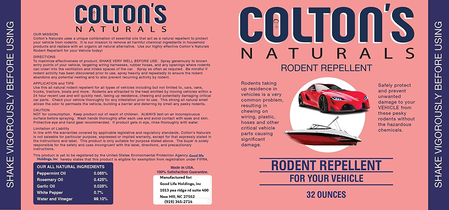 Colton's Naturals Natural Vehicle Mouse Repellent Spray Protects Your  car/Boat/Tractor from Rats Deterrent (32)