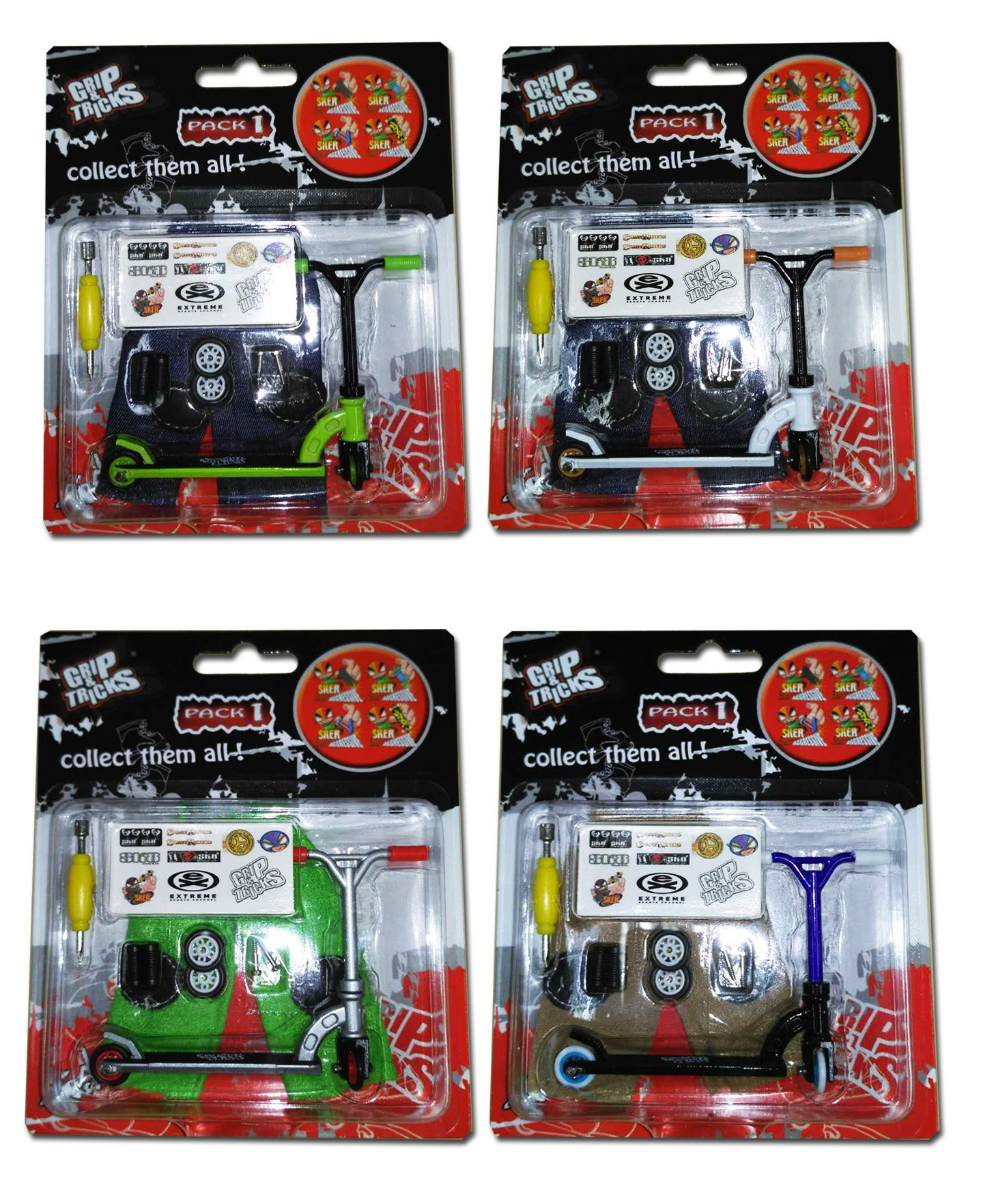 LOT of 4 Scooters - Grip and Tricks - Great Deal 4 Pack of Finger Scooters - Skate - Pack1 by Grip&Tricks