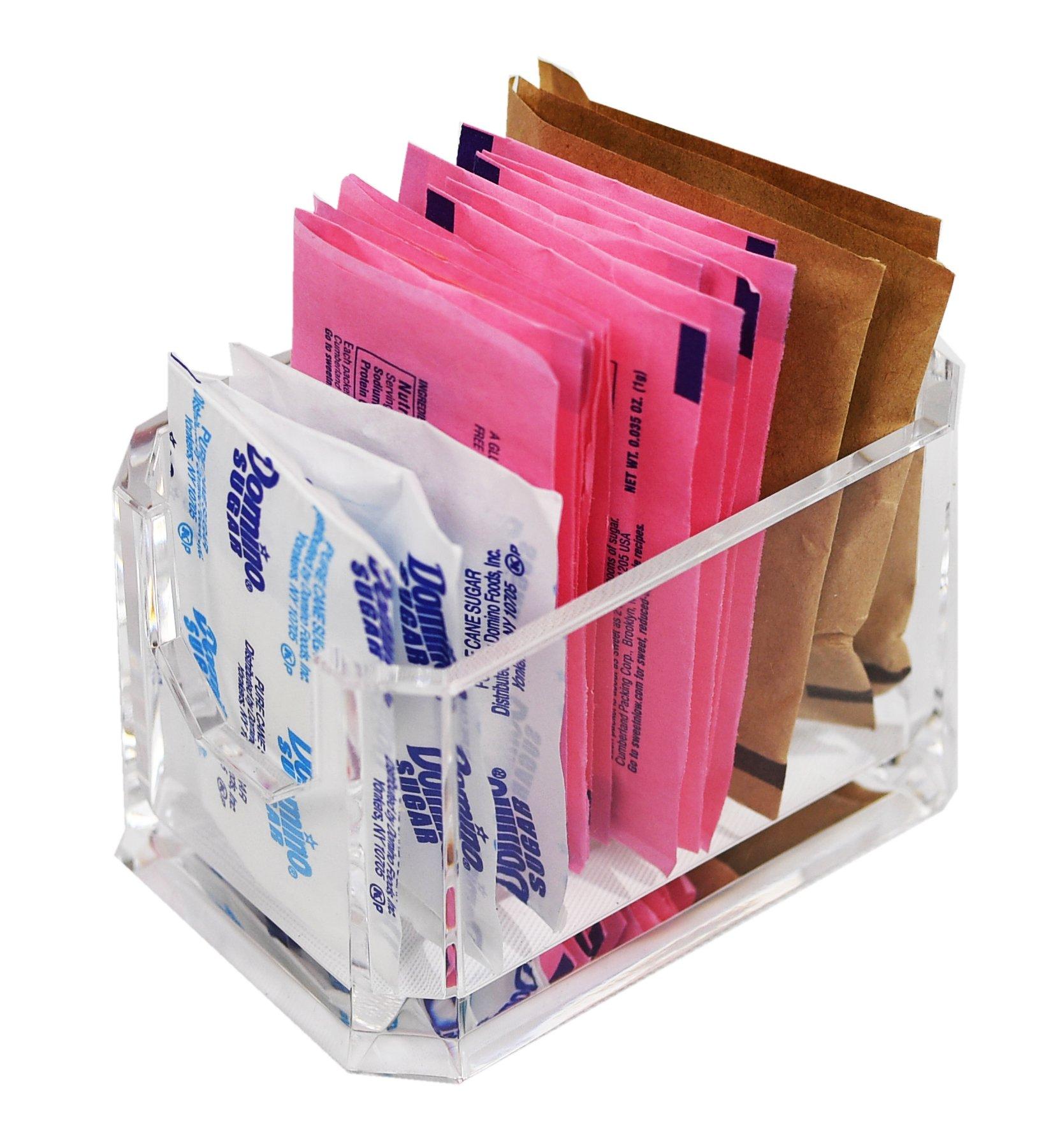 ARAD Crystal Clear Restaurant Style Acrylic Sweetener, Sugar, Sweet 'N Low Holder 24 Packet Capacity