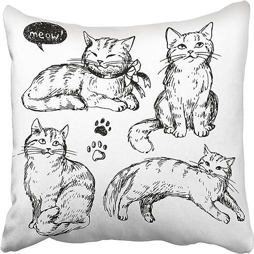 Emvency - Fundas Decorativas de Almohada, diseño de Gatos con ...