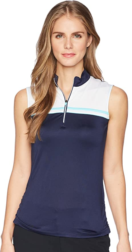 ec47cbb600268 Amazon.com   Callaway Women s Opti-Dri Color Block Sleeveless Mock ...