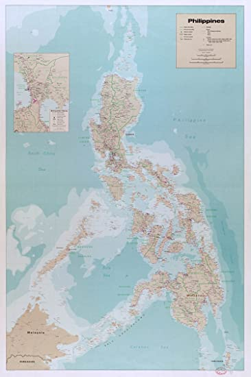 Amazon map poster philippines 24x165 posters prints map poster philippines gumiabroncs Gallery