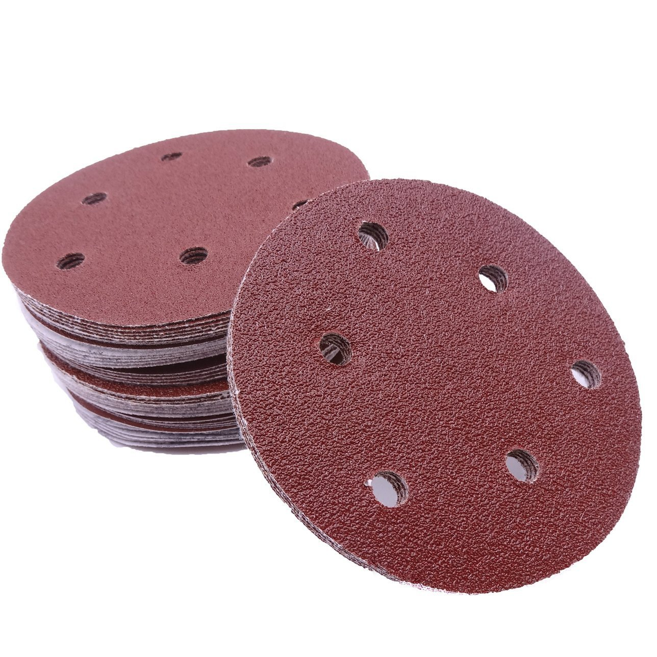 Maveek 60 Pieces 6-Holes Discs Pads 5 Inch/ 125 mm Hook and Loop 40/60/ 80/120/ 180/240 Assorted Grits 6 Models, Each Model 10 Pieces Sandpaper Sanding Discs Pads for Random Orbital Sander