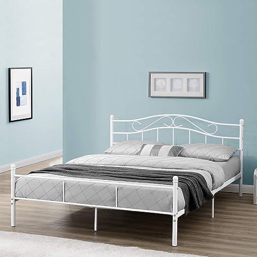 En Casa Metallbett Florenz 140x200cm Mit Kopfteil Pulverbeschichtet Lattenrost Schlafzimmerbett Doppelbett Bett Weiss Amazon De Kuche Haushalt
