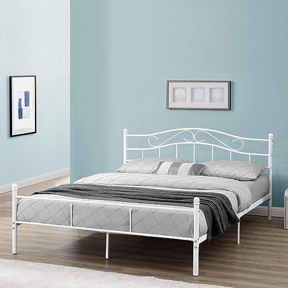 [en.casa] Cama de Metal Doble (Florencia)(180 x 200cm)(Blanca) con cabecero Curvado/Recubrimiento en Polvo/somier Incluido