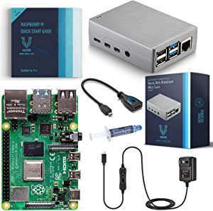 Vilros Raspberry Pi 4 Basic Starter Kit with Heavy Duty Self Cooling Aluminum Alloy Case (4GB Silver Case)