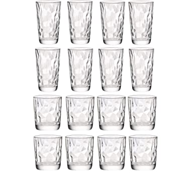 Circleware 40159 Cabrini Set of 16, Drinking Glasses & Whiskey Cups, Glassware for Water, Beer, Juice, Ice Tea, Bar Beverage Gifts, 8-15.7 oz. & 8-12.5 oz