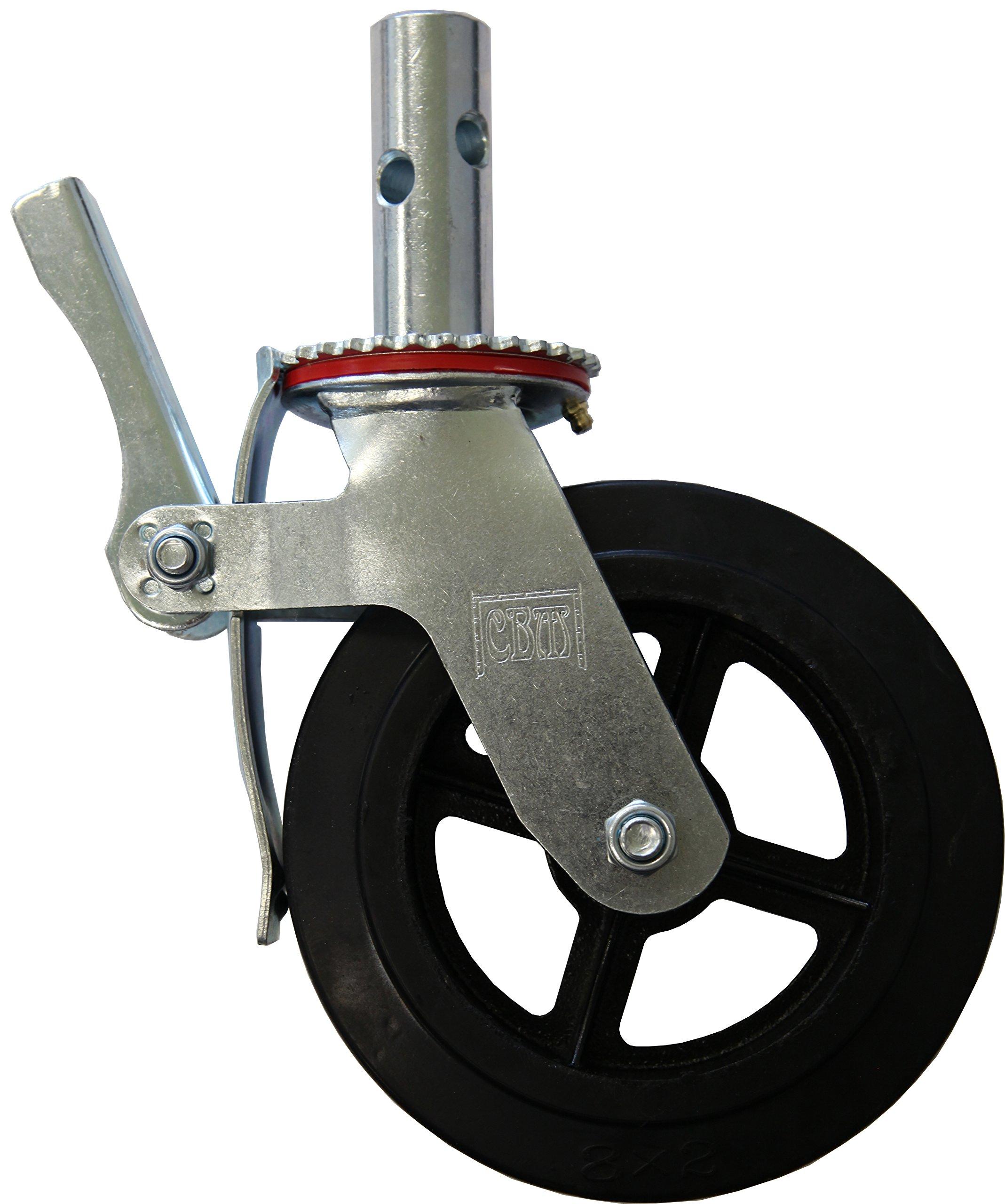 RWM Casters Locking Stem Scaffold Caster, Swivel with Lock, Rubber on Iron Wheel, Roller Bearing, 500 lbs Capacity, 8'' Wheel Dia, 2'' Wheel Width, 9-1/4'' Mount Height, 1-3/8'' Stem Dia, 3-3/4'' Stem Height