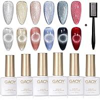 GAOY Holographic Glitter Cat Eye Gel Polish Set of 6 Colors with Free Magnet UV LED Soak Off Shellac Nail Polish Home…