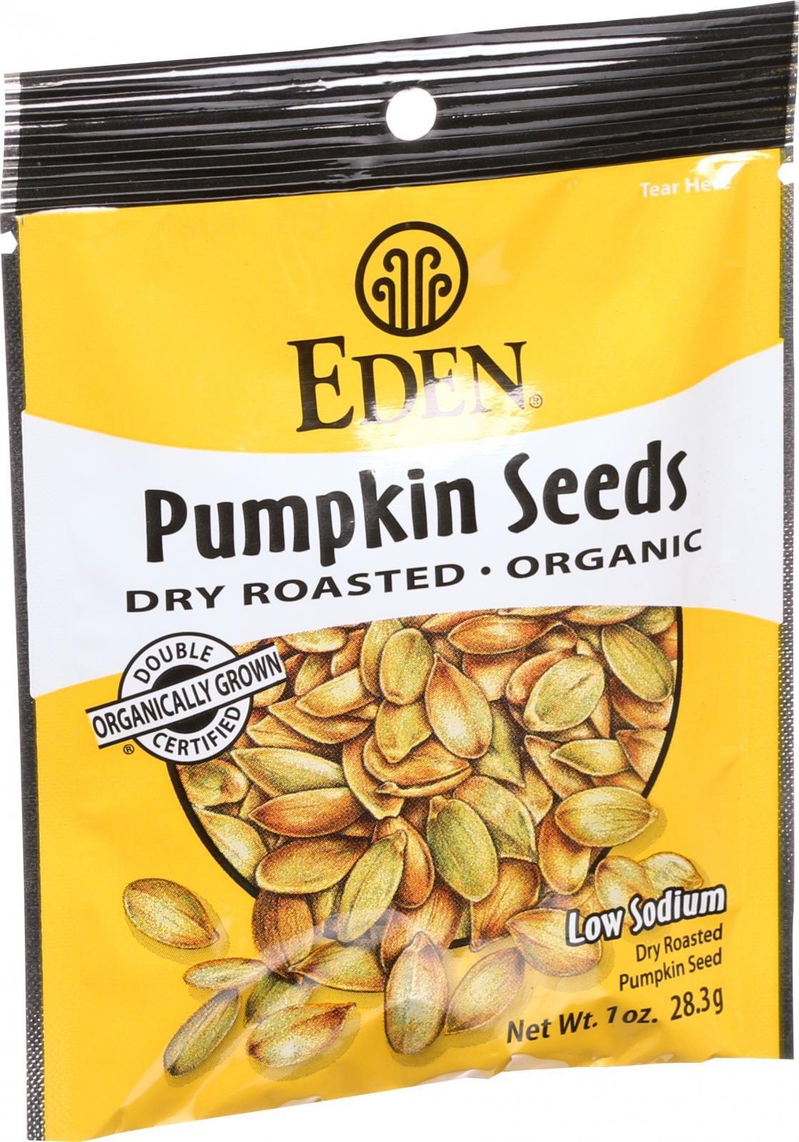 Eden Foods Organic Pocket Snacks - Pumpkin Seeds - Dry Roasted and Salted - 1 oz - Case of 12