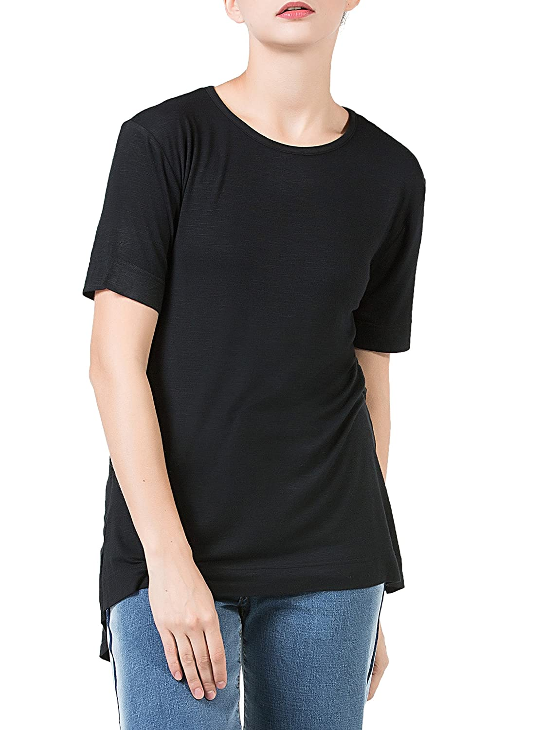 ec36a18a2 Supersoft, breathable and stretchy: The basic tees for women made from 95%  slub cotton 5% spandex lightweight skin fabric, very comfortable for wear