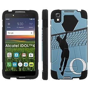 Alcatel One Touch IDOL 4 [Nitro 4/49] Phone Cover, Volleyball Monogram Q - Black Hexo Hybrid Armor Phone Case for Alcatel One Touch IDOL 4 [Nitro 4/49]