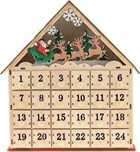 Clever Creations Wooden Christmas Advent Calendar, Countdown to Christmas, LED Holiday Decoration, Battery Operated, Santa