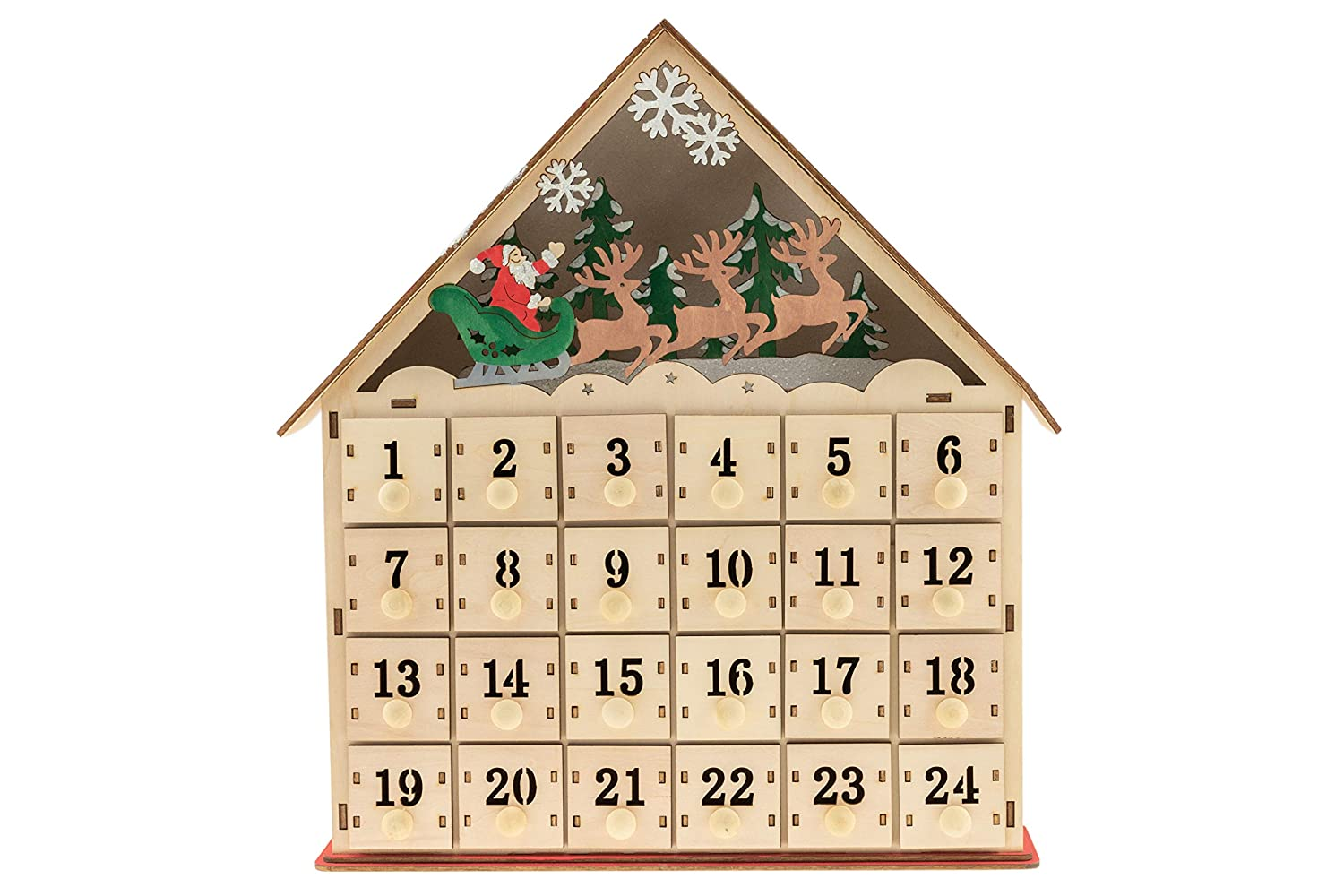 Wood advent calendar featuring a backlit display with santa