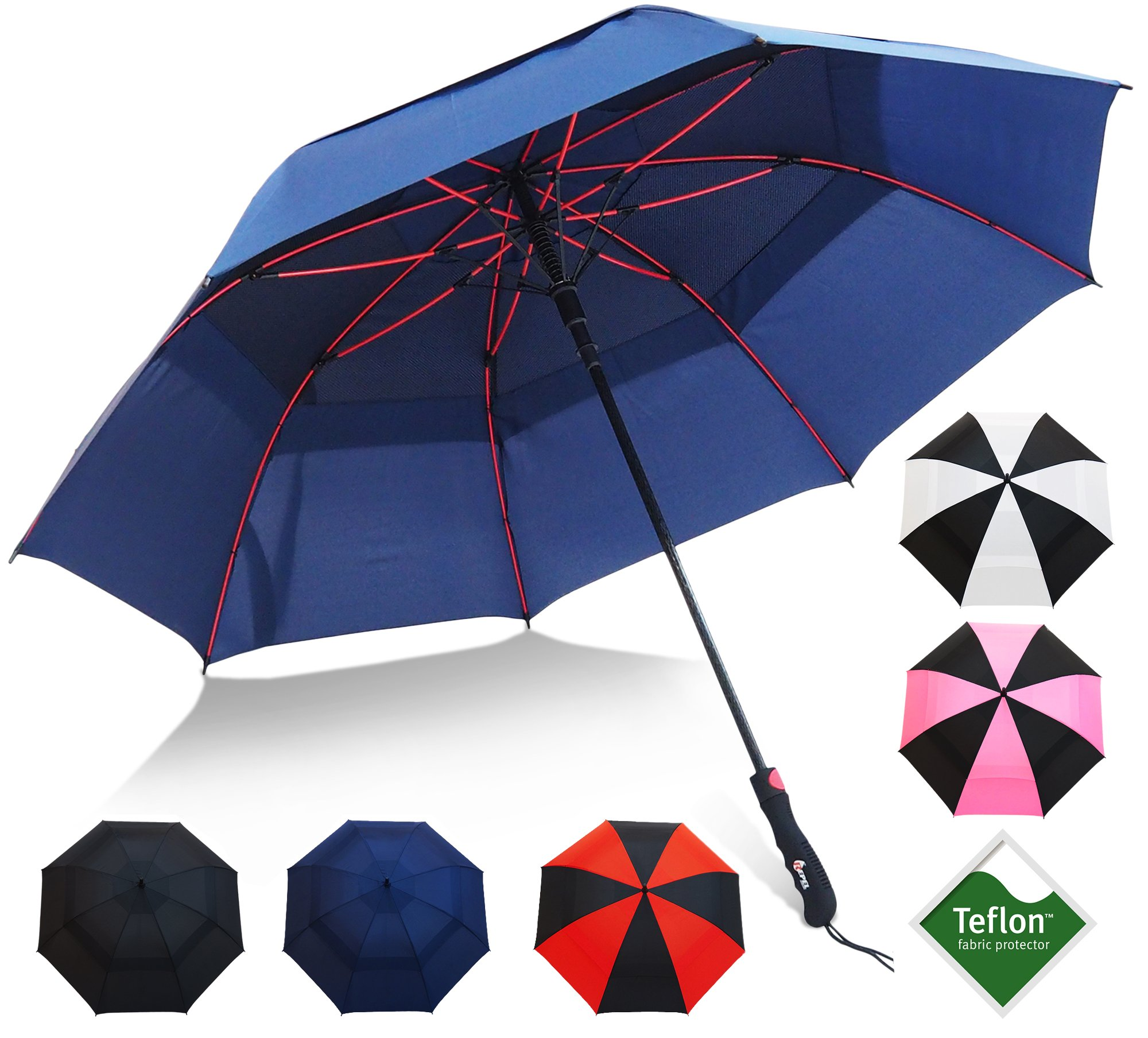 Golf Umbrella by Repel with Triple Layered Reinforced Fiberglass Ribs Adorned in Red Paint, 60'' Vented Double Canopy with Teflon Coating, Auto Open (Navy Blue)