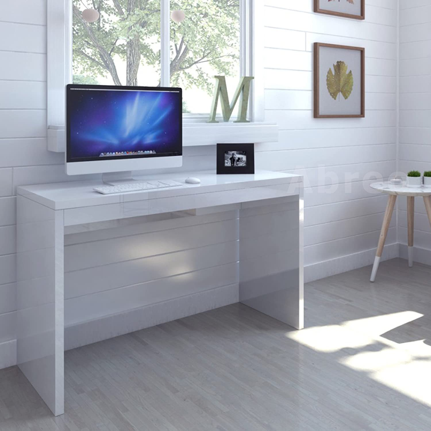 office table for home. Modern High Gloss White Home Office Desk Computer PC Table Workstation (White): Amazon.co.uk: Kitchen \u0026 For