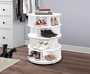 Kings Brand Furniture – 4-Tier Revolving Lazy Susan Shoe Rack Storage Organizer (White)