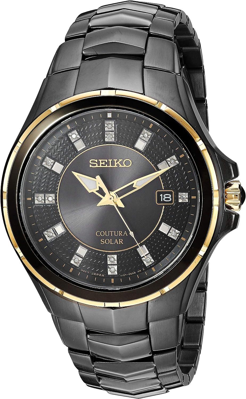 Seiko 'COUTURA' Reloj de Cuarzo de Acero Inoxidable, Color: Negro (Modelo: SNE506)