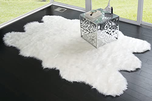 Glamour Home Faux Sheepskin Silky Flokati Fur Shaggy Area Rug in Animal Shape 5×8, White