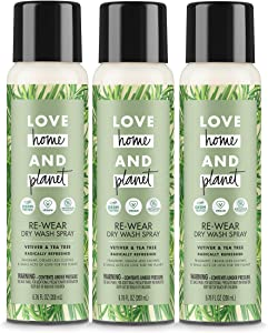 Love Home and Planet Dry Wash Spray Vetiver & Tea Tree Oil, 6.76 Fl Oz, Pack of 3