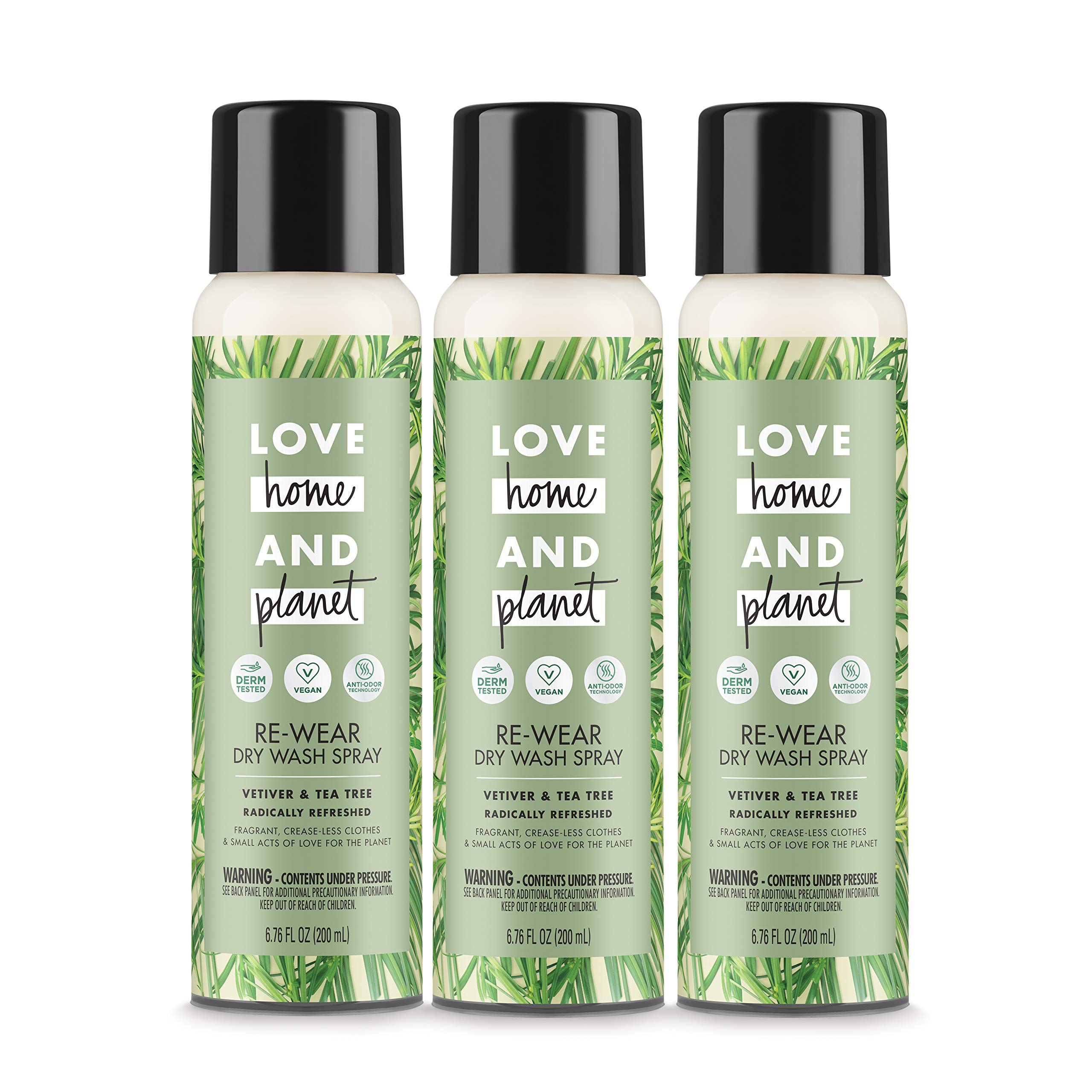Love Home and Planet Dry Wash Spray Vetiver & Tea Tree Oil 6.7 oz, 3 Pack