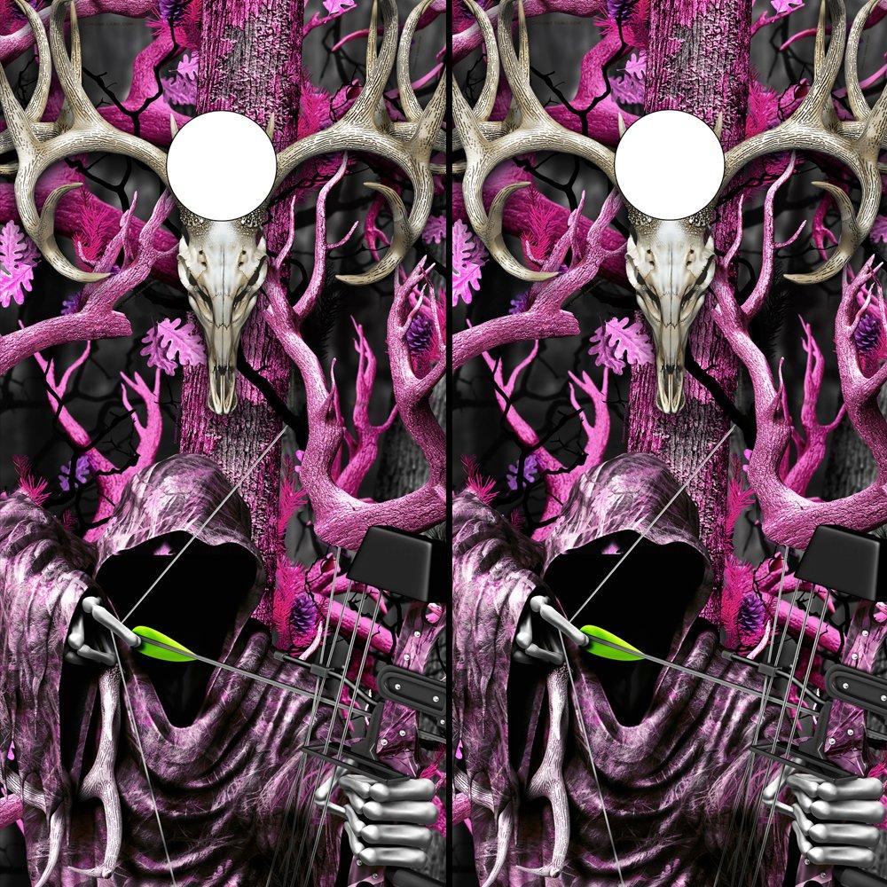 Speed DemonホットロッドShop Cornholeボードラップ~ Buck Bow Reaper – ピンクObliteration Corn穴ボードラミネートデカールWraps (Set of 2 ) bob102cb B07DQT1WVX