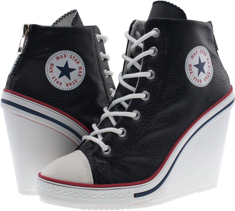 6393d9602a4 ... Maxstar Women s 777 777 777 Back Zipper PU High Wedge Heel Sneakers  B00XTIK5BO 10 B( ...