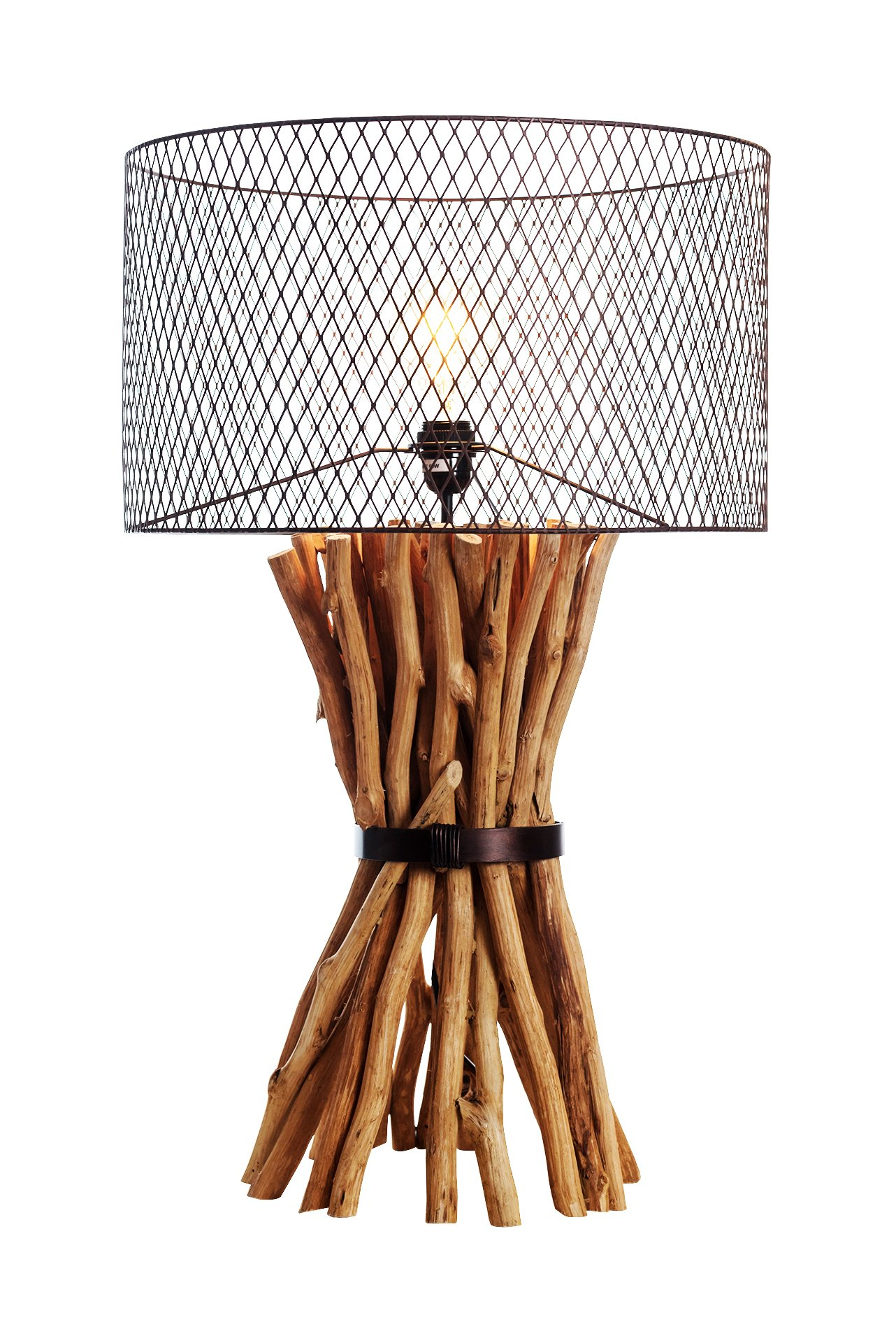 O'THENTIQUE Industrial Steampunk Table Lamp | Natural Branches Bunched Elementaire Design Rusty Metal Round Shade Handmade for Home Decor, Living Room, Bedroom, Kids Room, Office, Library
