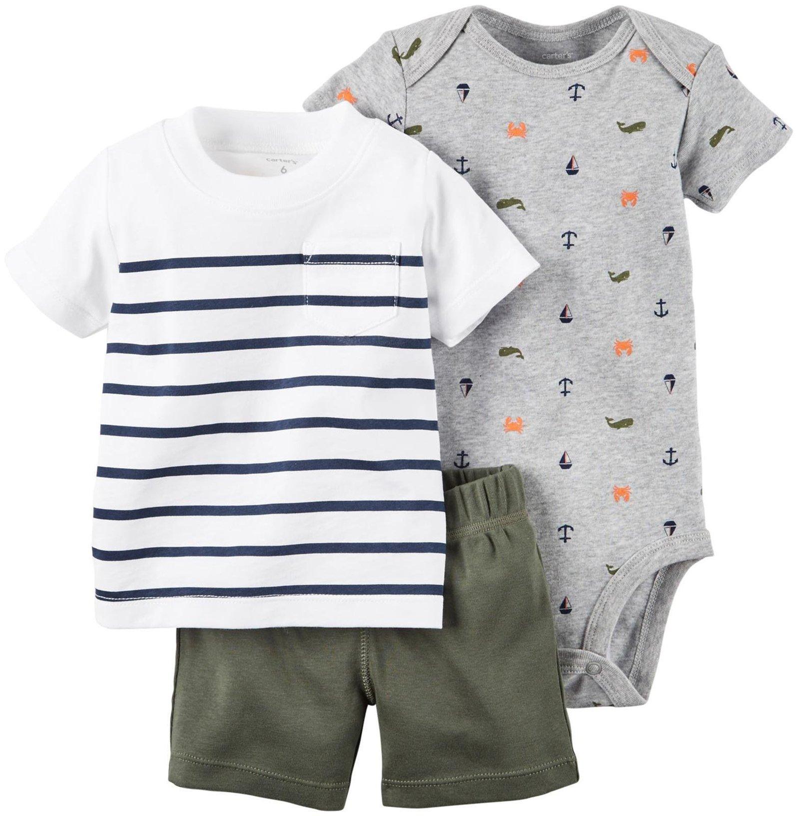 Carter's Baby Boys' Diaper Cover Set Stripe Tee BTM, Olive, 6 Months
